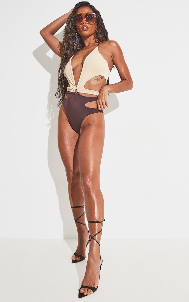 Chocolate Contrast Cut Out Swimsuit 6