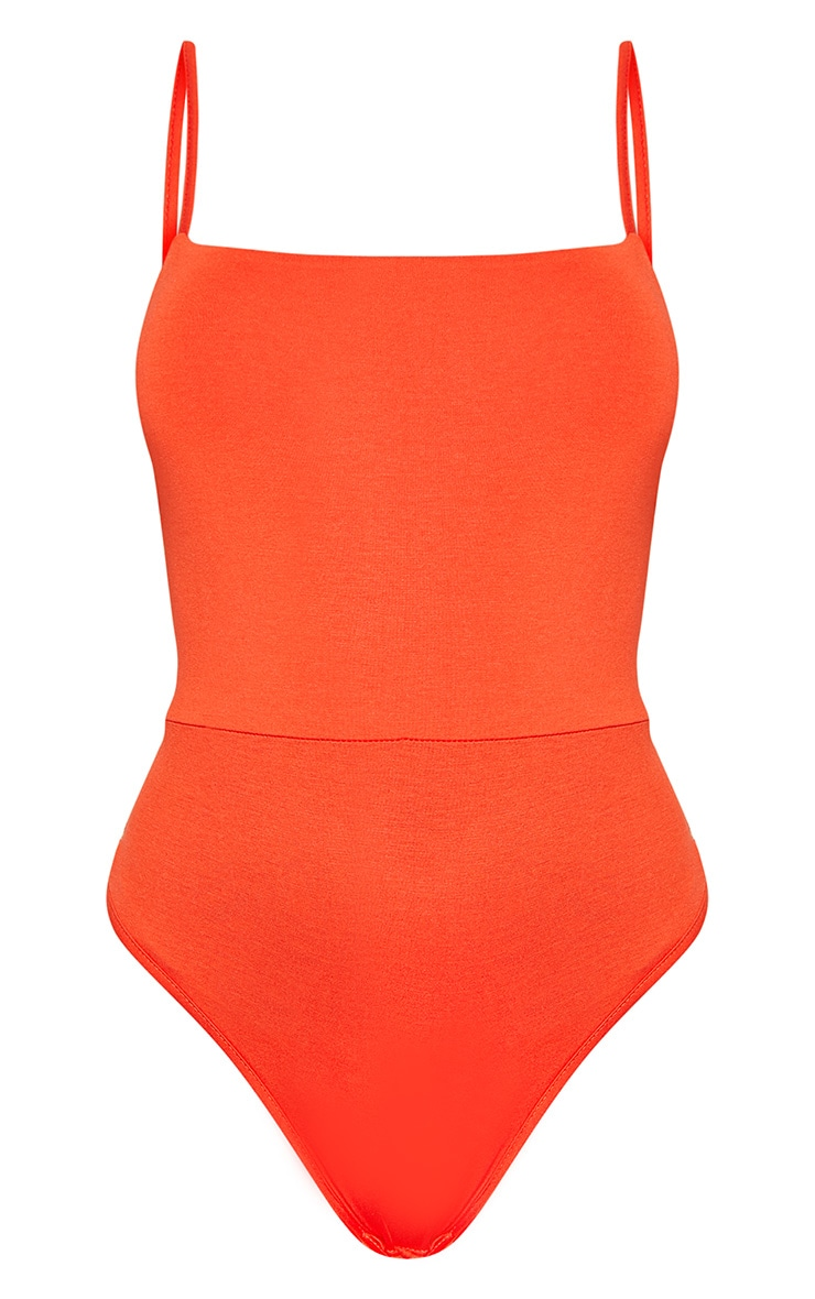 Basic Orange Square Neck Thong Bodysuit 3