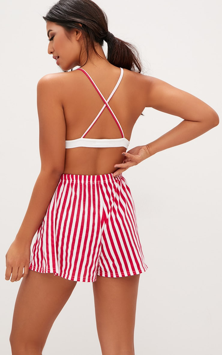Red Striped Bralet And Short Set 2
