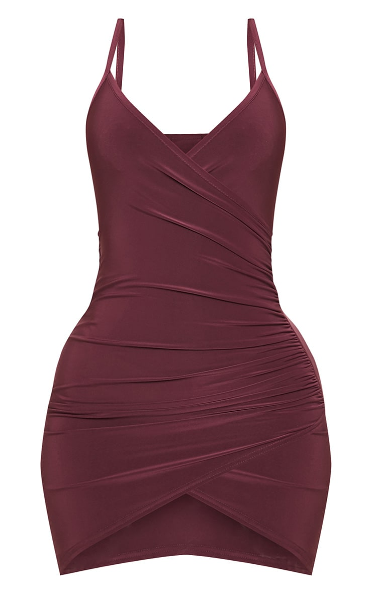 Shape Burgundy Ruched Side Strappy Bodycon Dress 3