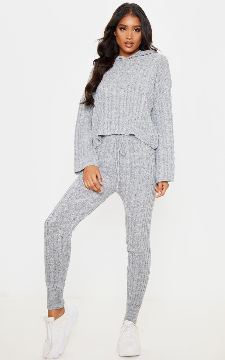 Grey Cable Knitted Hooded Lounge Set 1