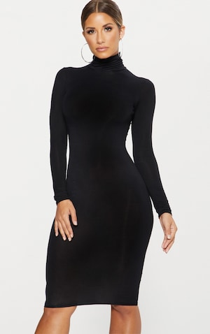Robe Mi Longue Basique Noire A Col Roule Robes Prettylittlething Fr