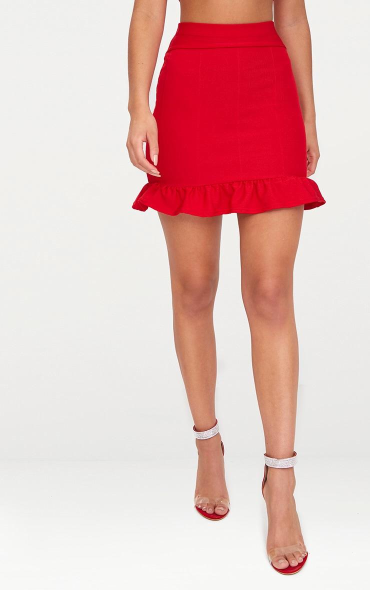 Red Bandage Frill Hem Mini Skirt 2