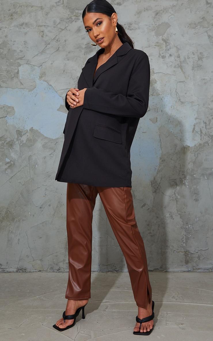 Maternity Tan Faux Leather Split Hem Trousers 1
