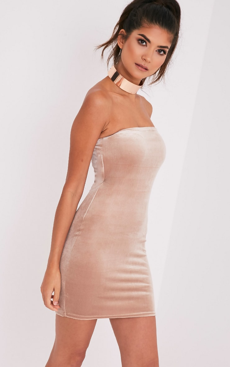 Shany Champagne Velvet Bandeau Bodycon Dress 4