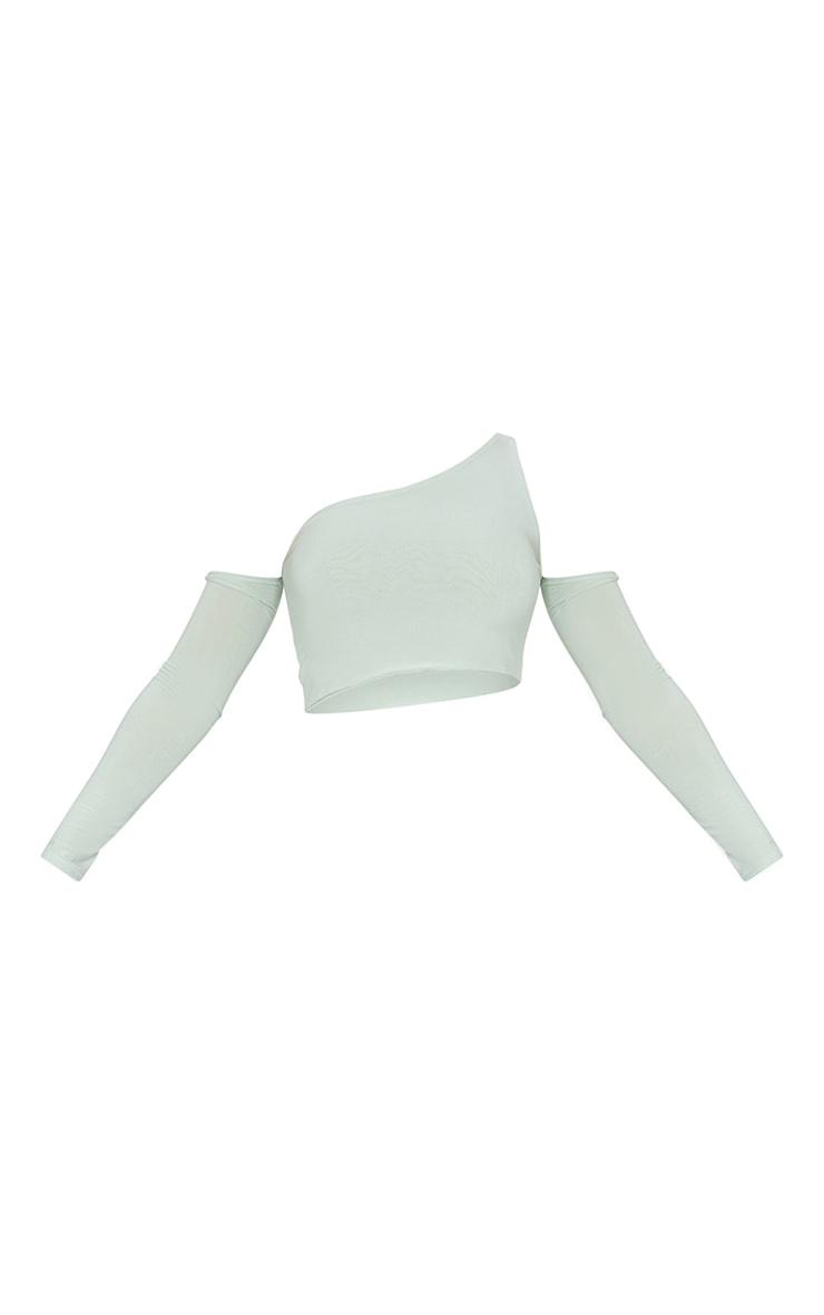 Sage Recycled Slinky One Cold Shoulder Crop Top 5