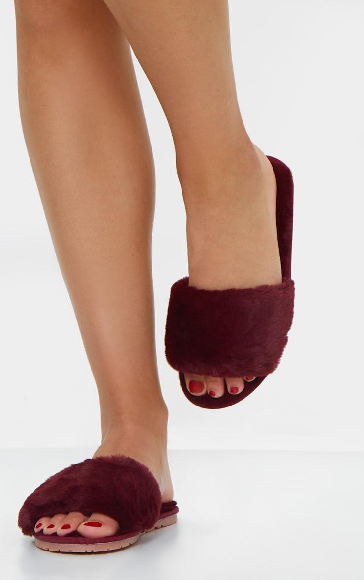 Berry Fluffy Cross Strap Slider Slippers 2