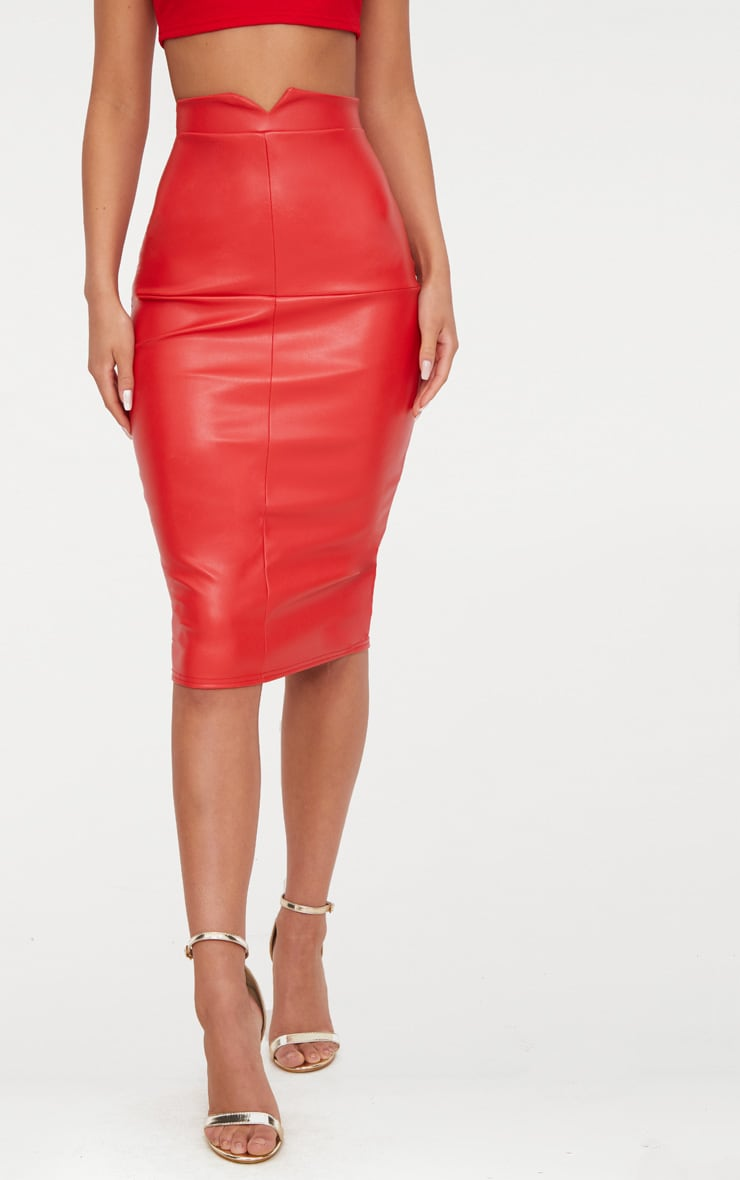 Red Faux Leather Panel Midi Skirt  2