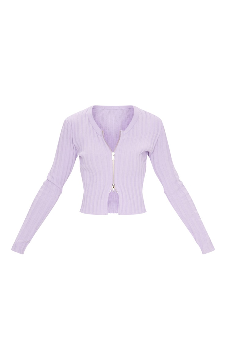 Lilac Double Ended Zip Wide Rib Knitted Top 5