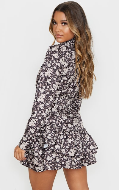 Black Floral Print High Neck Frill Hem Shift Dress