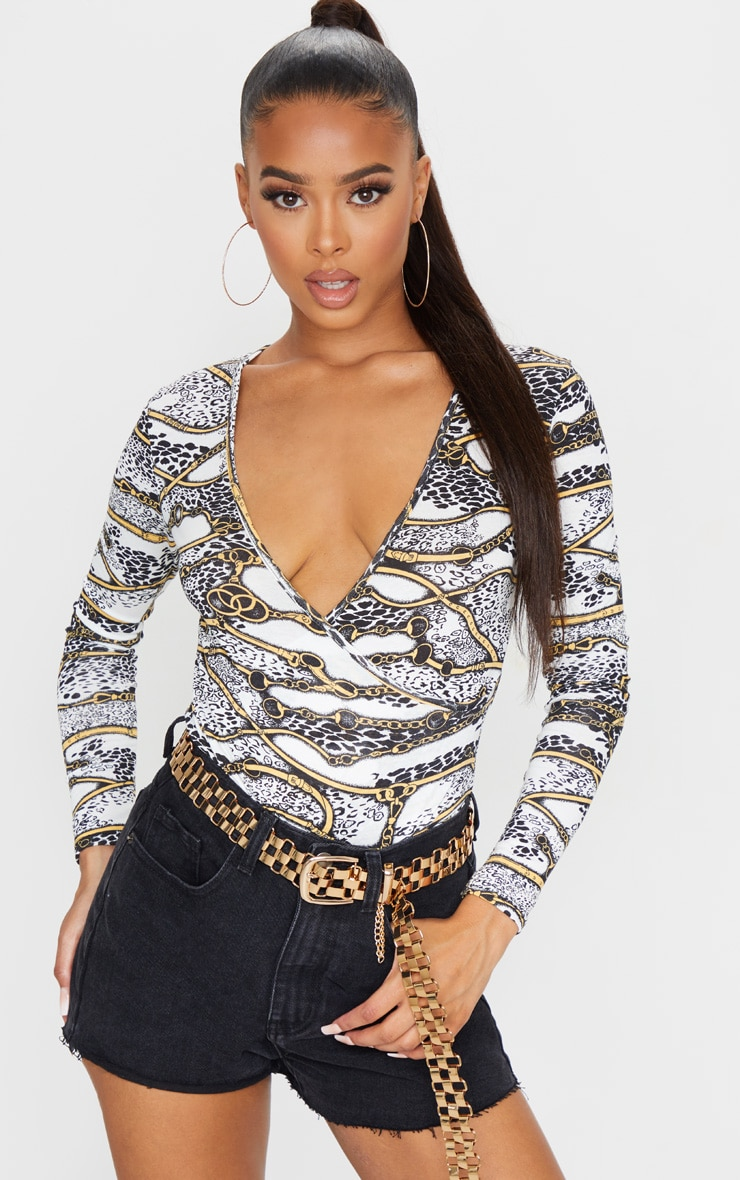 White Chain Printed Wrap Long Sleeve Bodysuit 1
