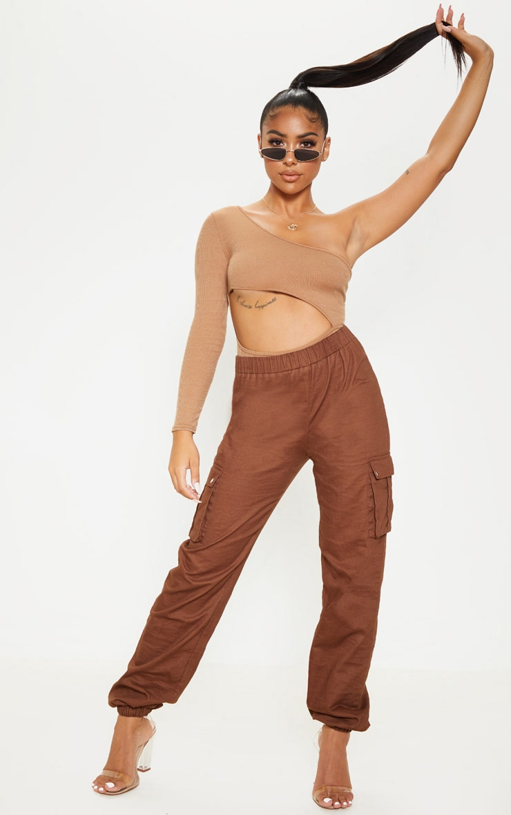 Petite Camel Extreme Cut Out Asymmetric Long Sleeve Bodysuit 5