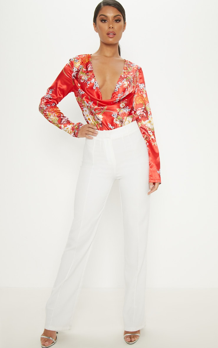 Red Oriental Printed Satin Cowl Long Sleeve Bodysuit 5