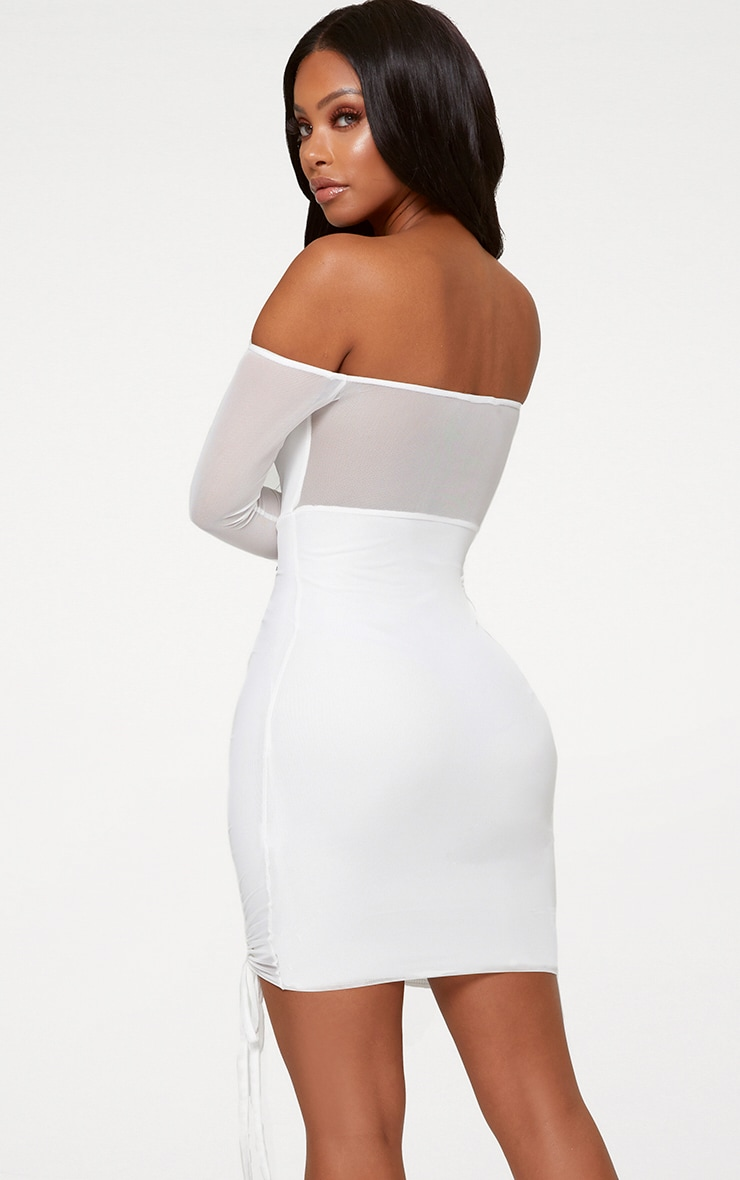 Shape White Ruched Mesh Bodycon Dress 2
