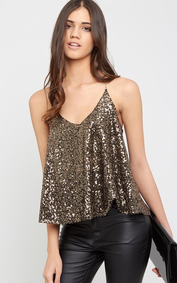 Abella Gold Sequin Chain Strap Swing Vest 4