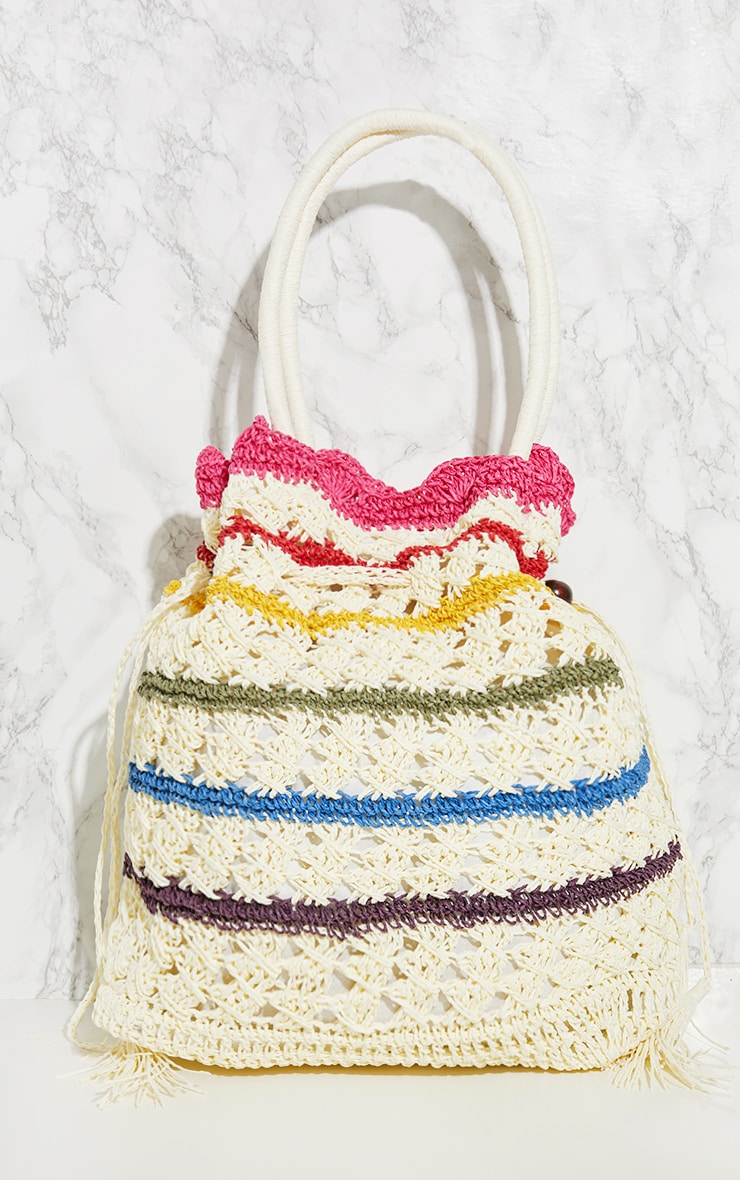 Rainbow Straw Beach Bag 3