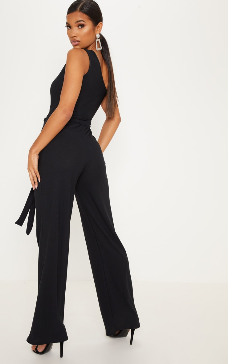 Black One Shoulder Tie Waist Jumpsuit 2