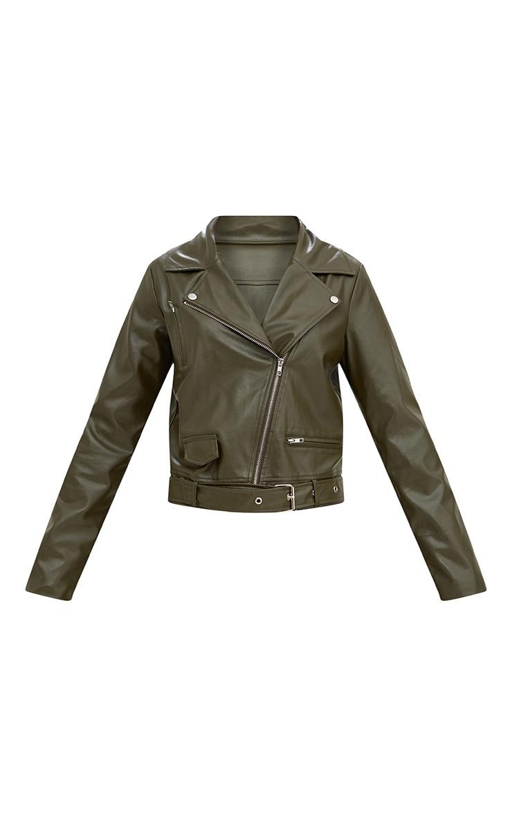 Khaki PU Biker Jacket 3