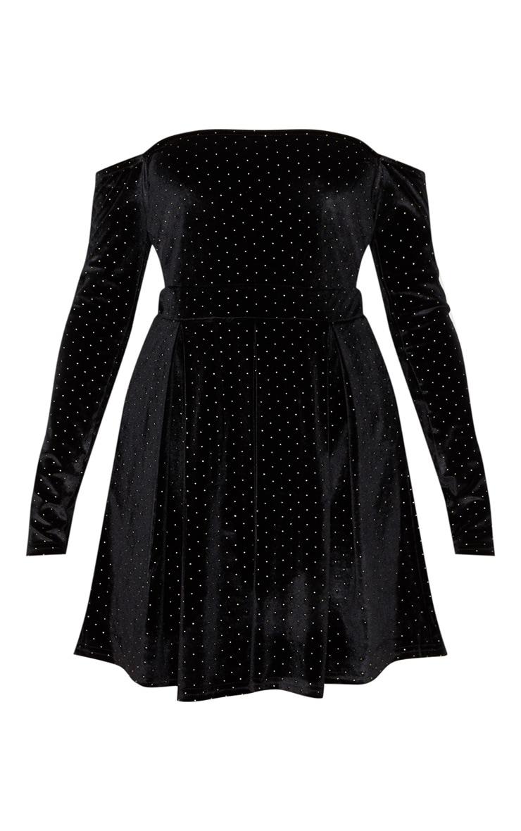 Black Velvet Studded Bardot Skater Dress 3