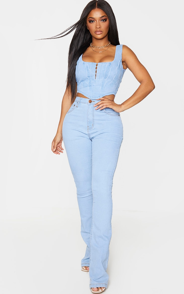 Shape Light Blue Wash Denim Hook And Eye Corset 4