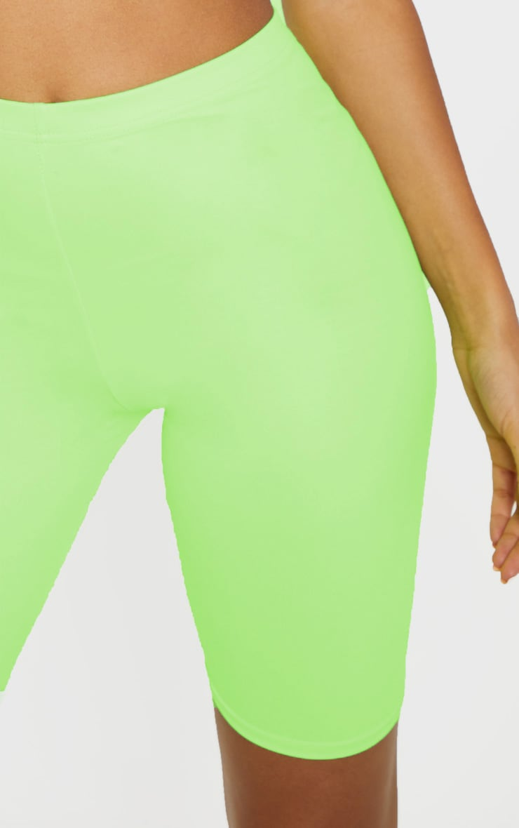 Neon Lime Wet Look Cycle Short 6