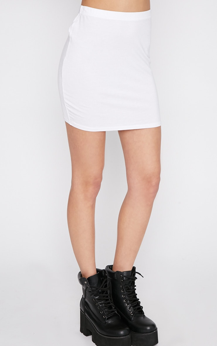 Basic White Bodycon Jersey Mini Skirt 3