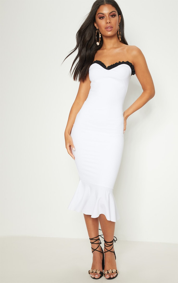 White Frill Edge Bandeau Fishtail Midi Dress 1