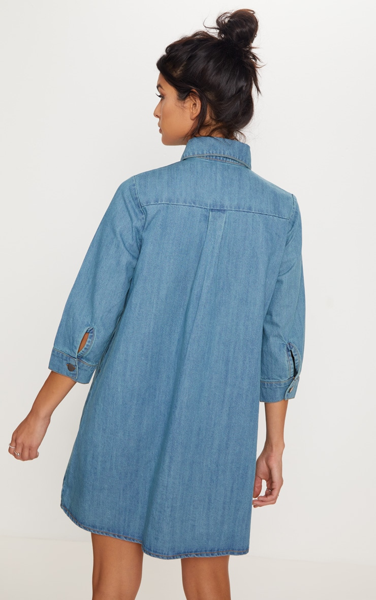 Marriet Mid Wash Button Through Denim Shirt Dress 2