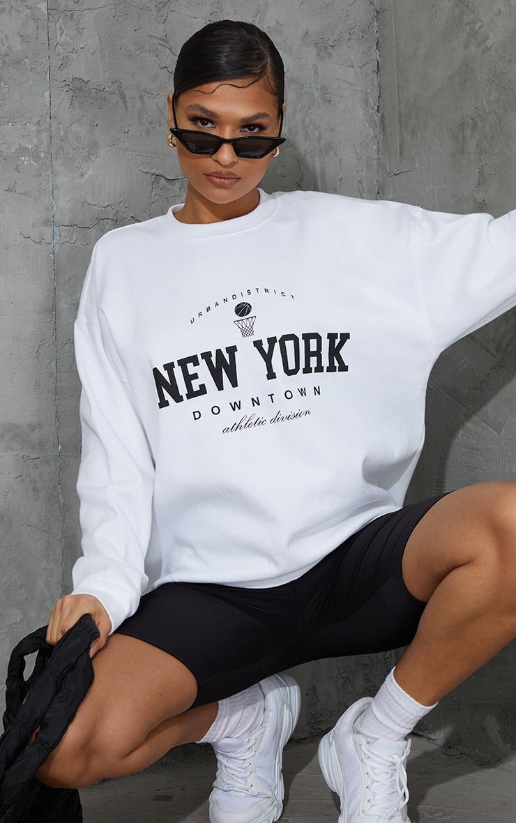 White New York Downtown Slogan Printed Sweatshirt image 1