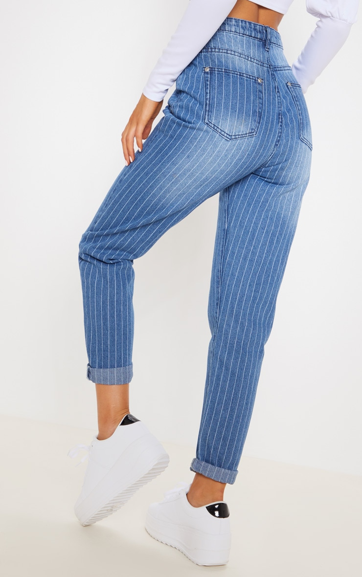 Blue Striped Turn Up Mom Jeans 4