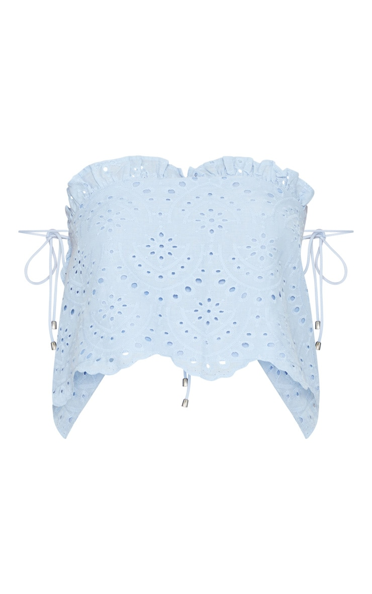 Blue Broderie Anglaise Frill Detail Bandeau Top 3