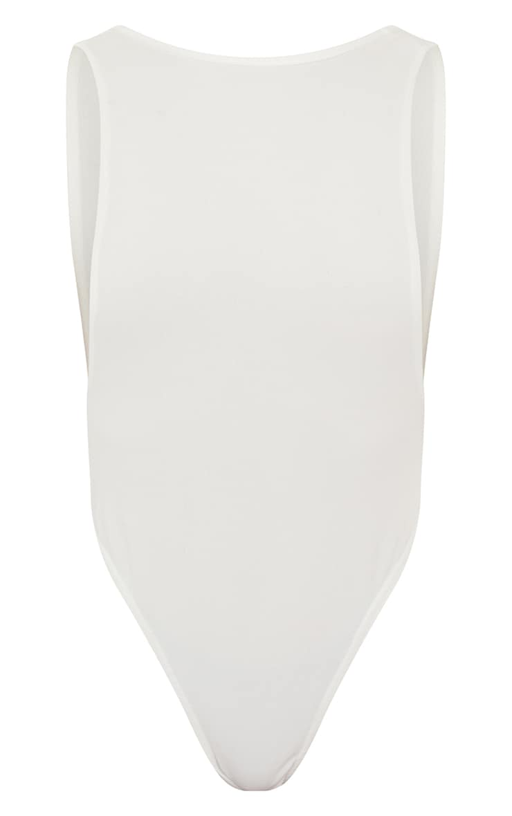 White Crepe Side Boob Thong Bodysuit  5