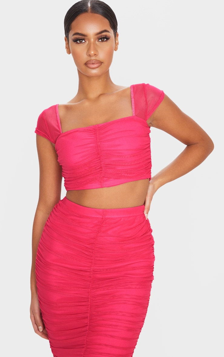 Hot Pink Mesh Ruched Front Crop Top