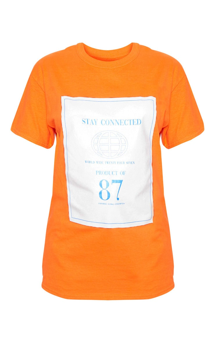 Orange Stay Connected Printed Oversized T Shirt 3