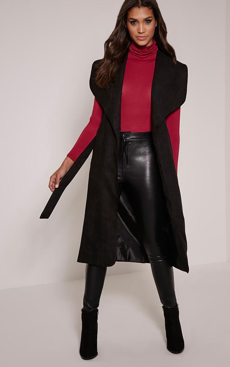 Tina Black Faux Suede Sleeveless Waterfall Coat 4