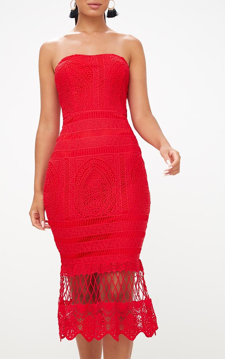 Red Lace Bandeau Longline Midi Dress 5