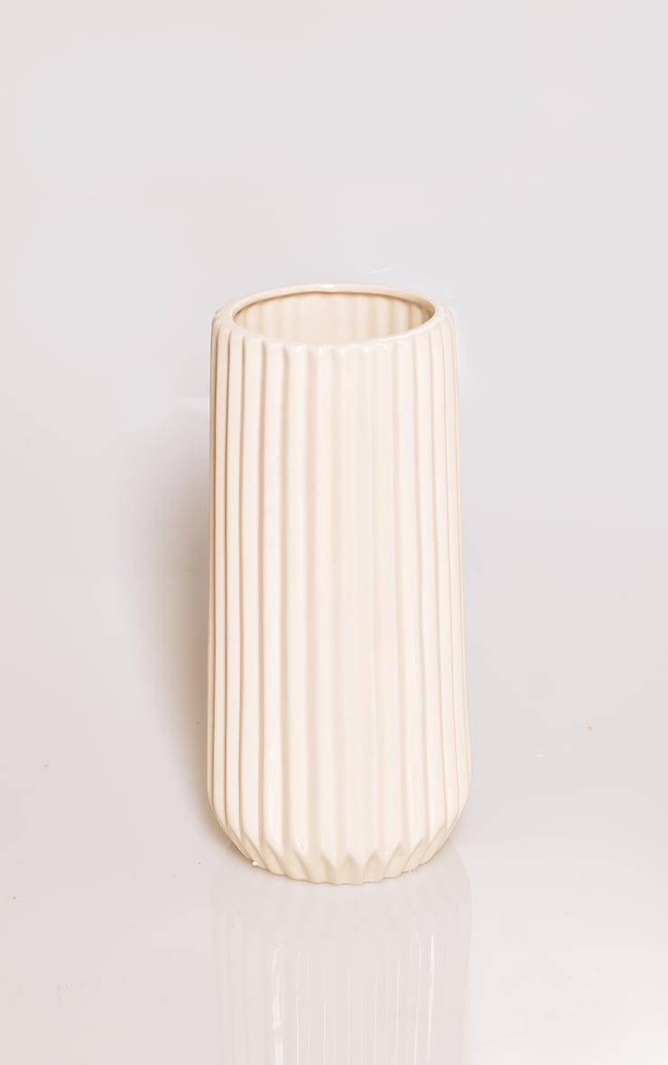 Cream Ribbed Glazed Ceramic Vase 3