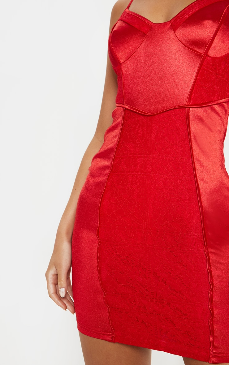 Red Satin Strappy Lace Panel Bodycon Dress 5