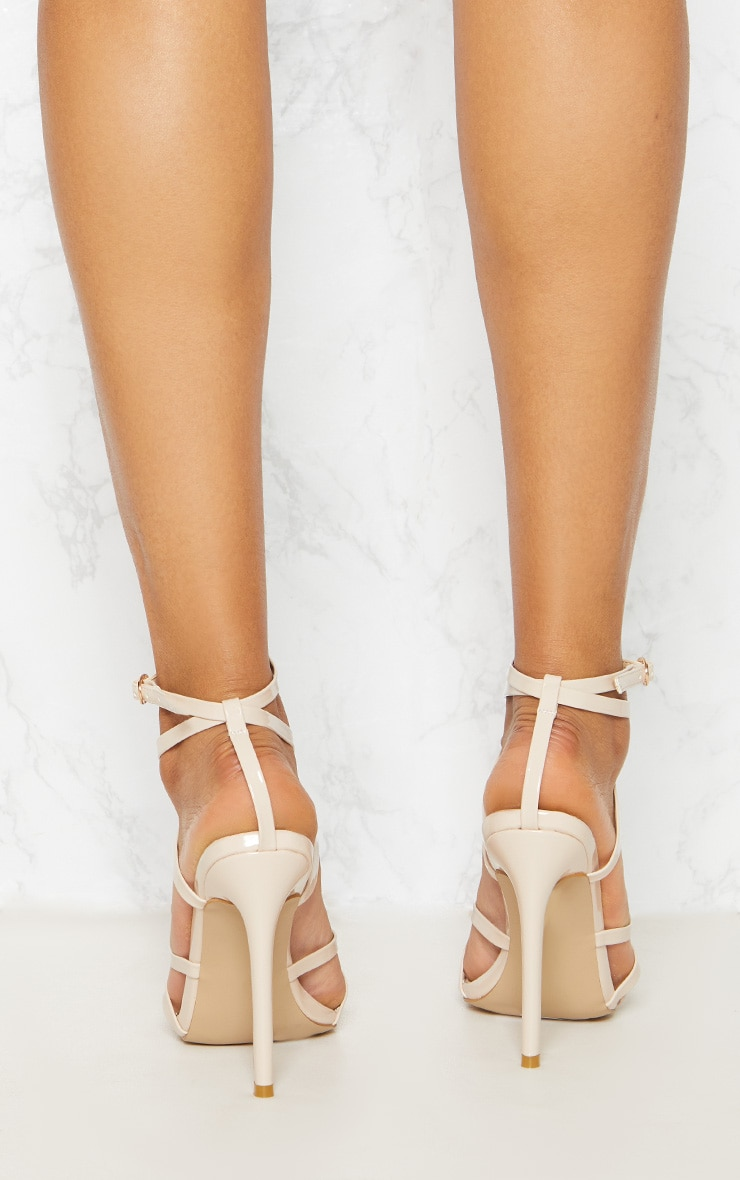 Nude Patent Strappy Point Toe Heels 4