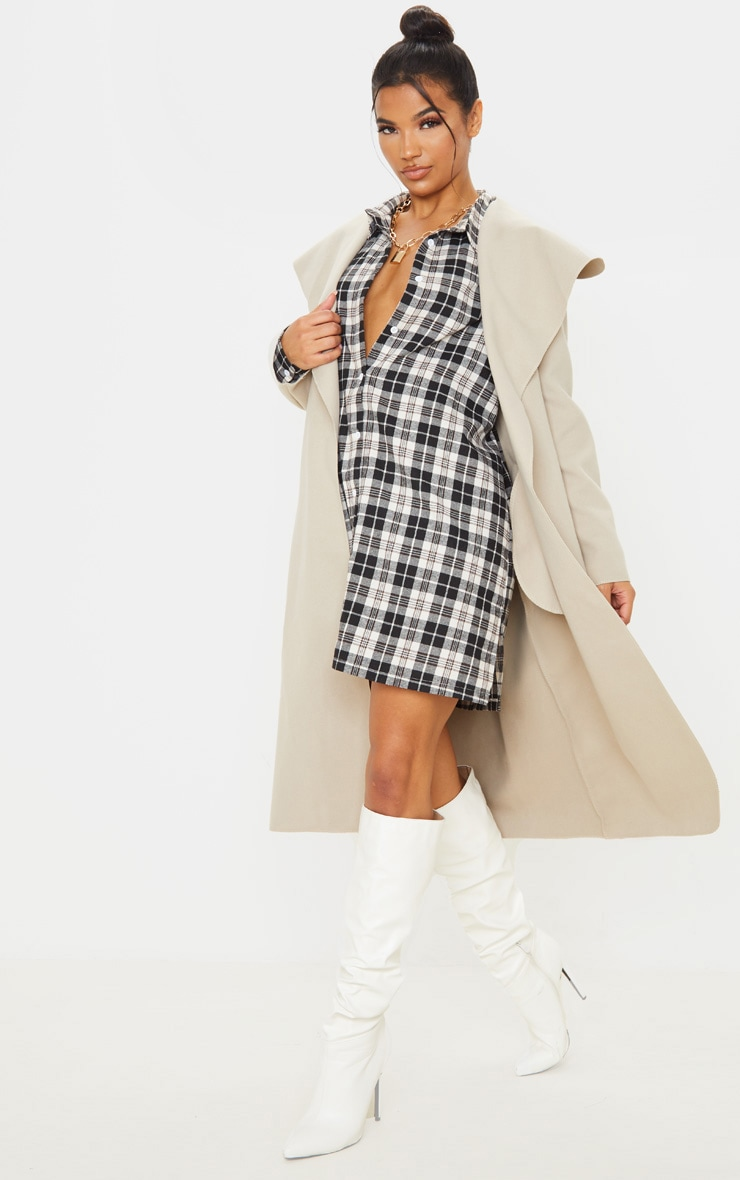 Veronica Beige Oversized Waterfall Belt Coat 4