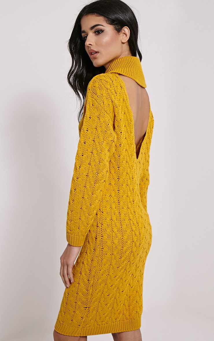 Stormie Mustard Cable Knit Long Length Jumper Dress 1