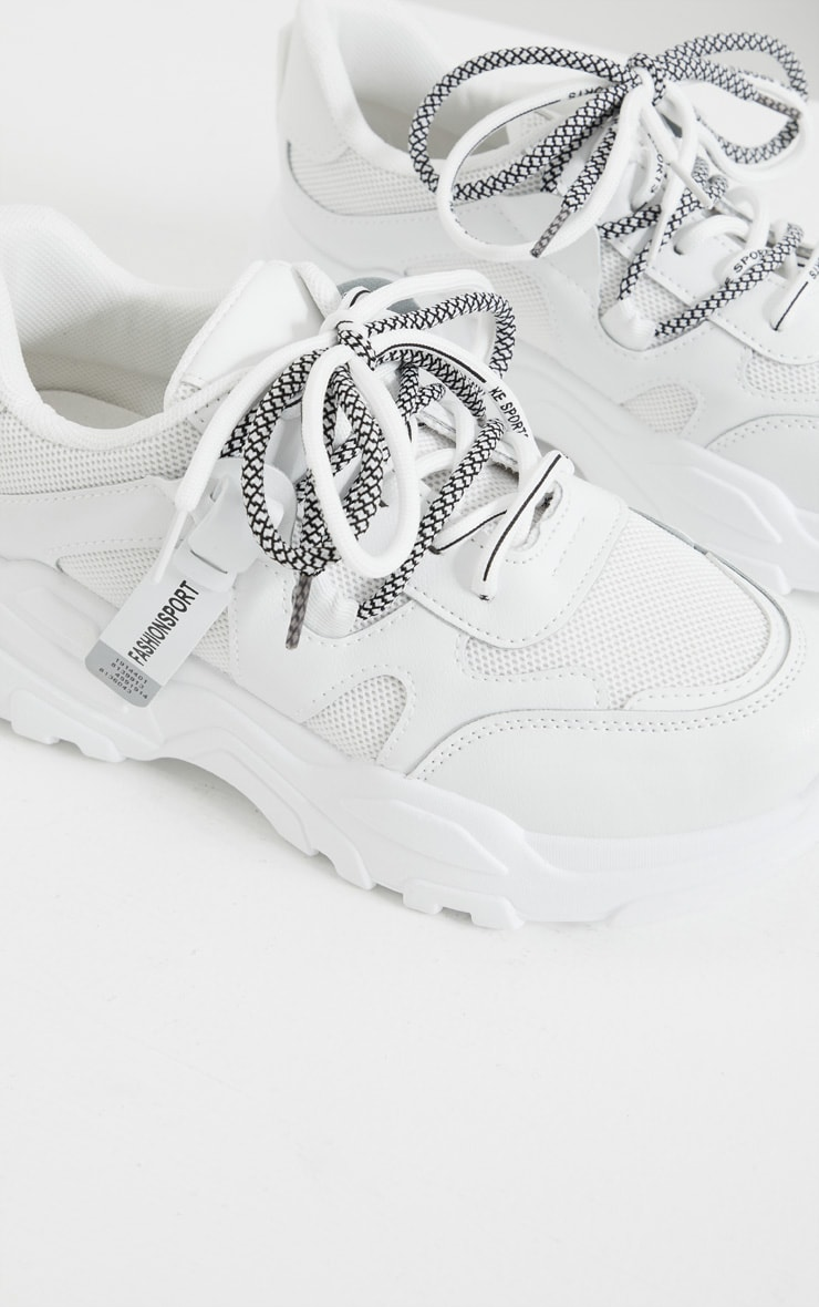 White Hiker Lace Up Panel Detail Chunky Sneakers 3
