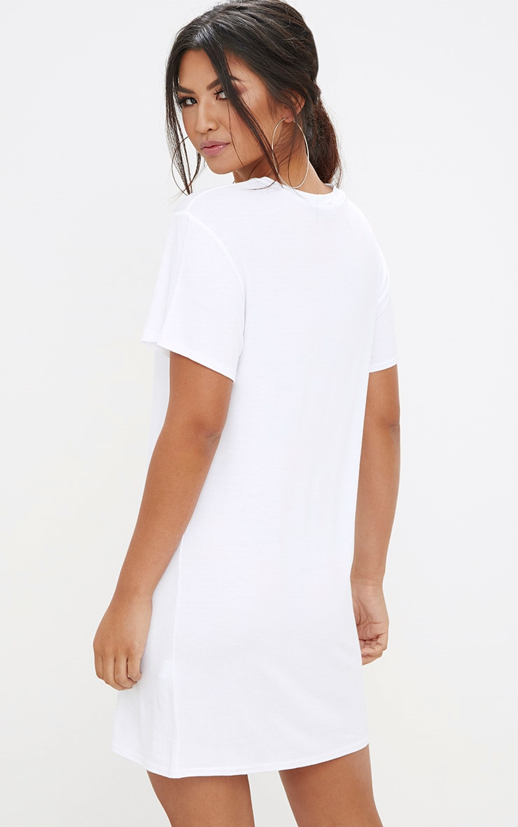 White No Time For Love T Shirt Dress 2