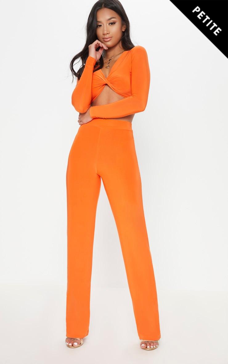 Petite Orange Slinky Wide Leg Trousers