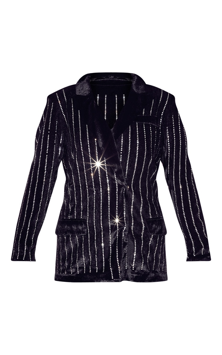 Black Velvet Diamante Oversized Blazer 3