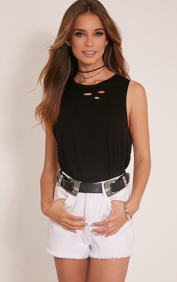 Ember Black Ripped Drop Armhole T-Shirt 1