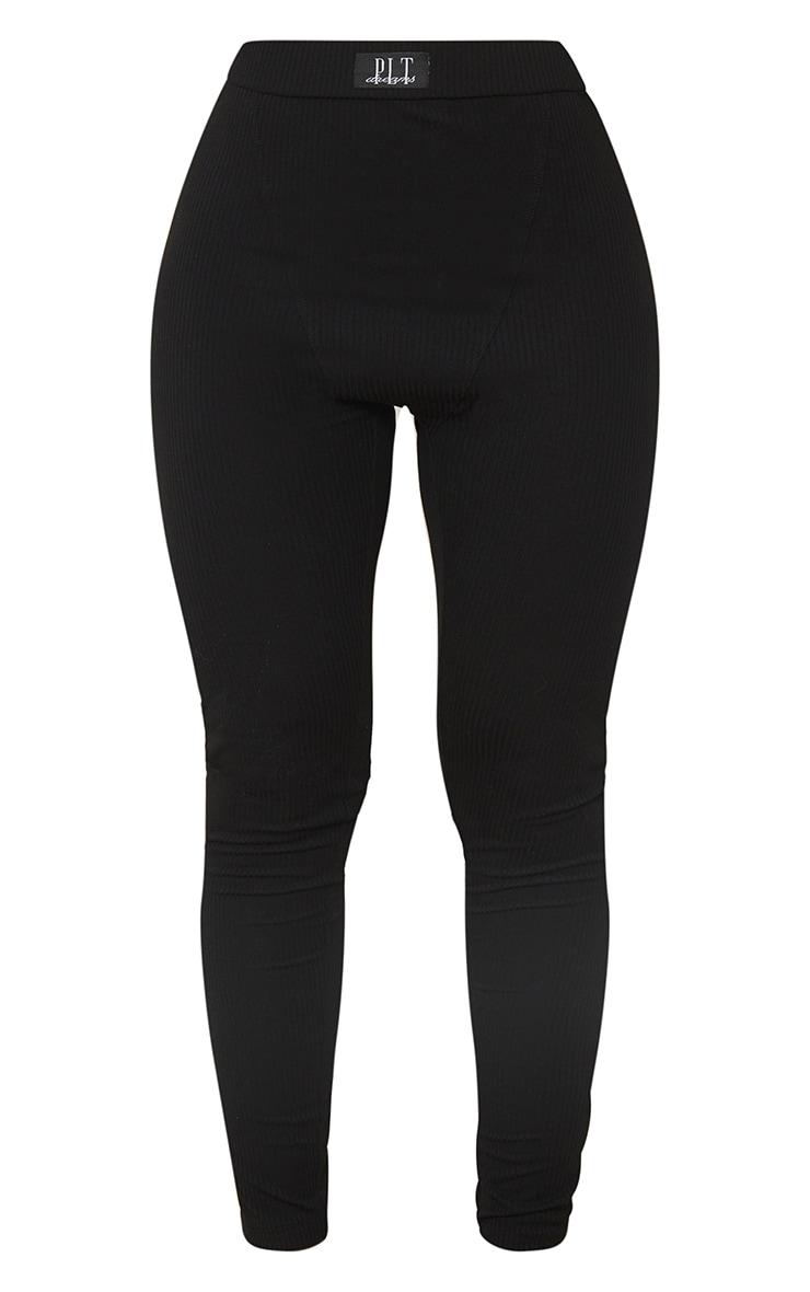 PRETTYLITTLETHING - Legging de pyjama noir côtelé à badge Dreams Mix & Match 5
