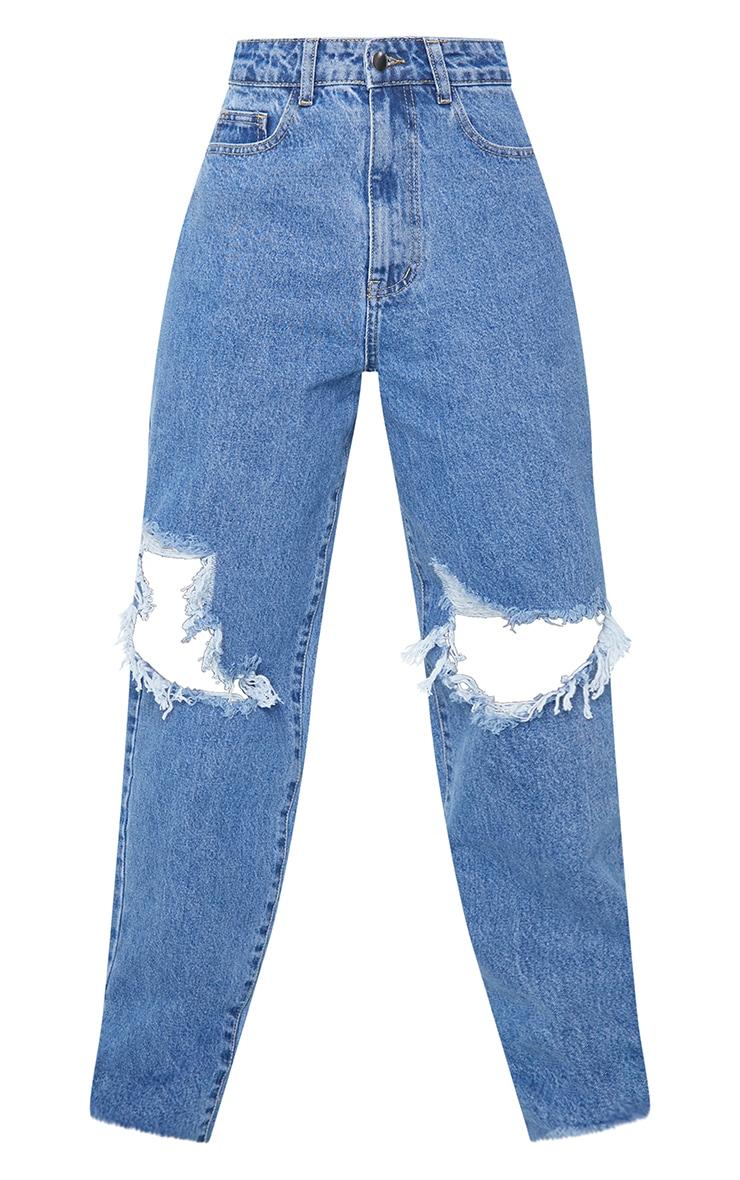 PRETTYLITTLETHING Tall Mid Blue Extreme Distressed Hem Boyfriend Jeans 5