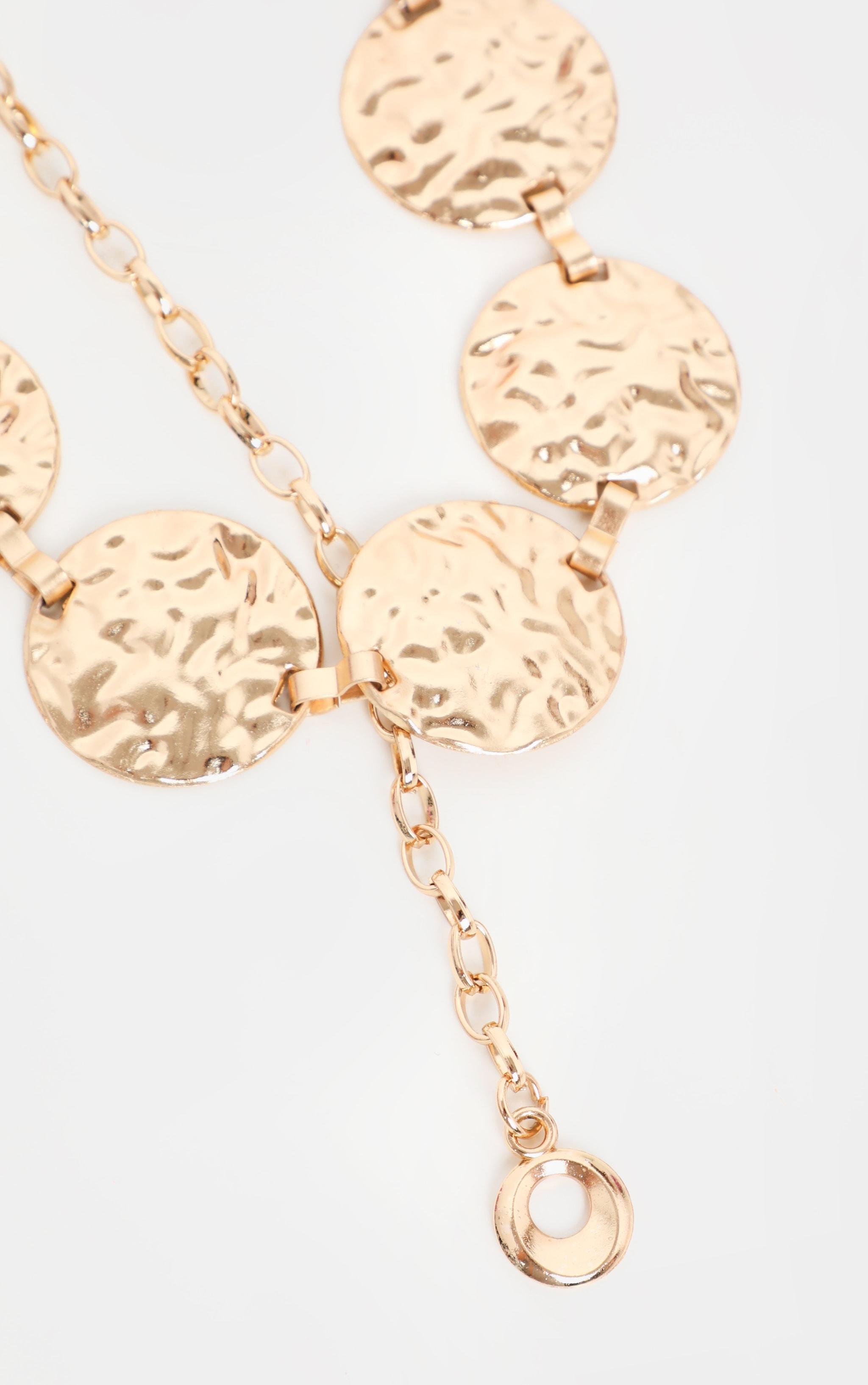 Gold Textured Coin Chain Belt 3