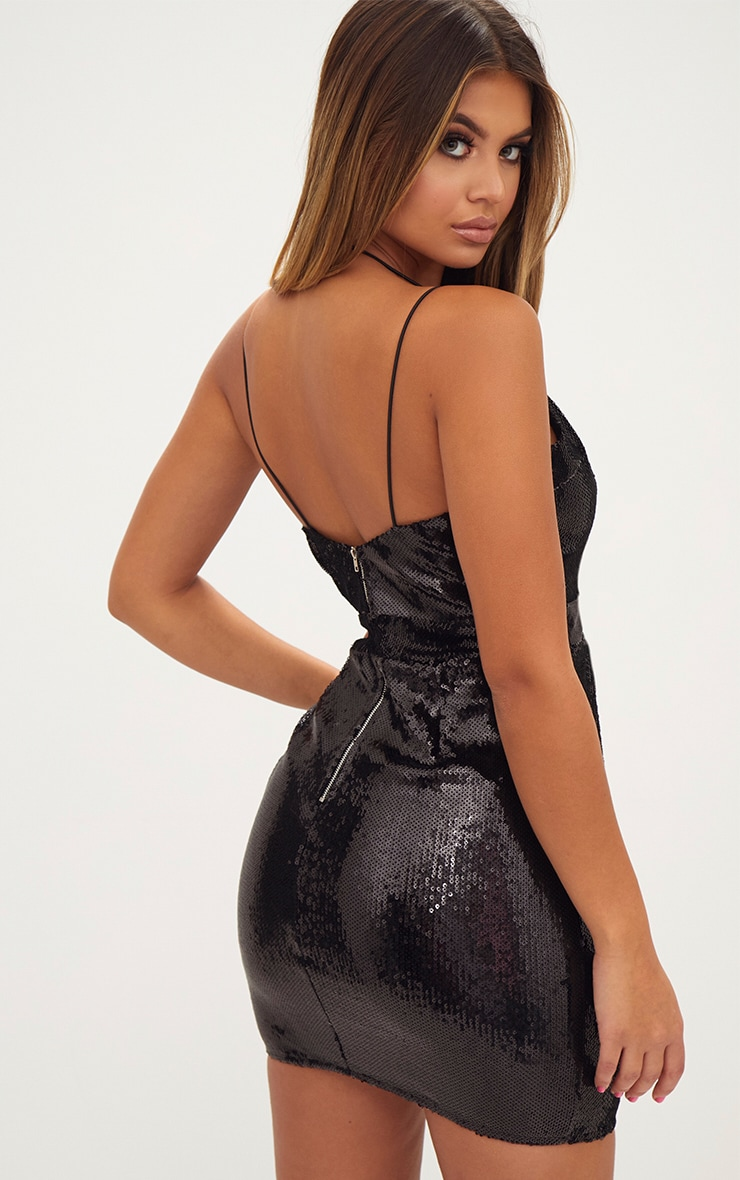 Black Strap Detail Sequin Bodycon Dress 3